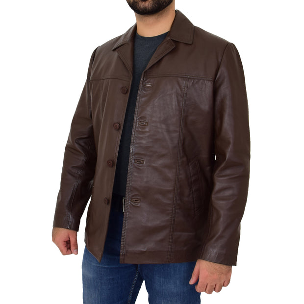Mens Casual Leather Jacket Hip Length Brown Reefer Blazer Coat Harold Open 3