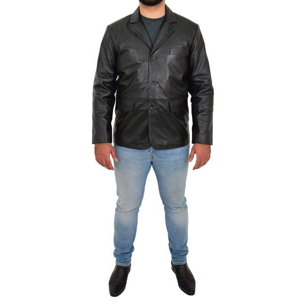 Real Leather Classic Blazer For Mens Smart Casual Black Jacket Kevin Full
