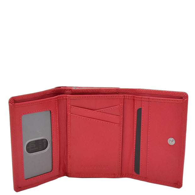 Womens Real Leather Purse Trifold Metal Clasp Wallet AL21 Red