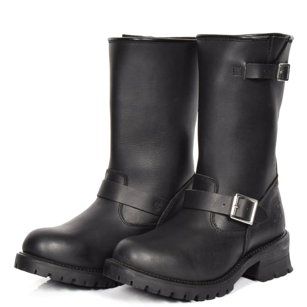 Real Leather Round Toe Buckle Design Biker Boots ATB45H Black Pair 2