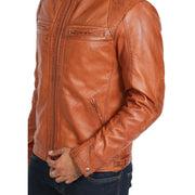 Gents Fitted Biker Leather Jacket Django Cognac Feature