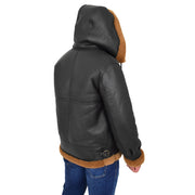 Mens Real Sheepskin Flying Jacket Hooded Brown Ginger Shearling Coat Hawker Back with Hood Up