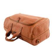 Genuine Leather Holdall Weekend Gym Business Travel Duffle Bag Ohio Tan Top View