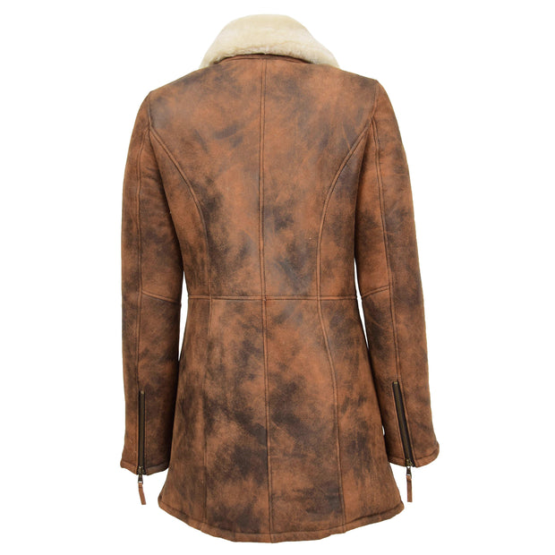 Womens Real Sheepskin Duffle Coat Hooded Shearling Jacket Armas Cognac Back Without Hood