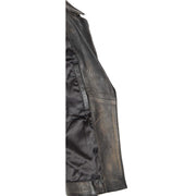 Womens Biker Leather Jacket Slim Fit Cut Hip Length Coat Coco Rub Off Lining