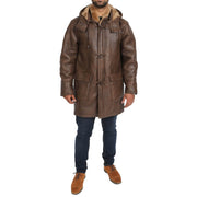 Mens Genuine Sheepskin Duffle Coat 3/4 Long Hooded Jacket Mitchel Brown Full