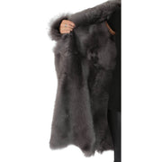 Womens Luxurious Toscana Long Coat Real Sheepskin Pamela Grey inside