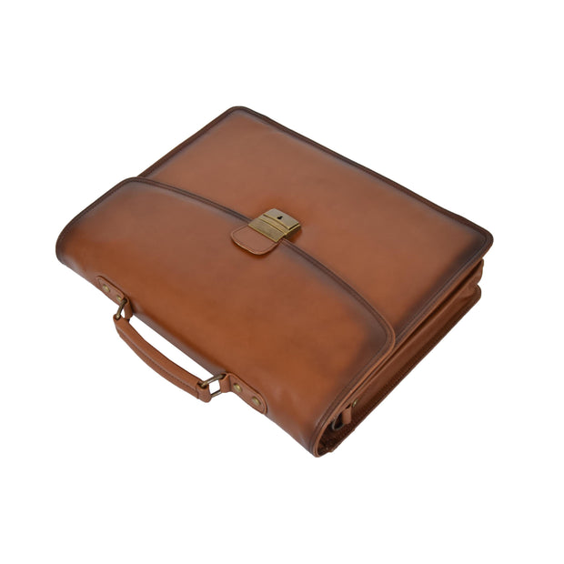 Mens Briefcase Italian Leather Soft Slim Satchel Business Bag Boris Tan Front Letdown