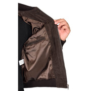 Mens Soft Goat Suede Bomber Varsity Baseball Jacket Blur Brown Lining