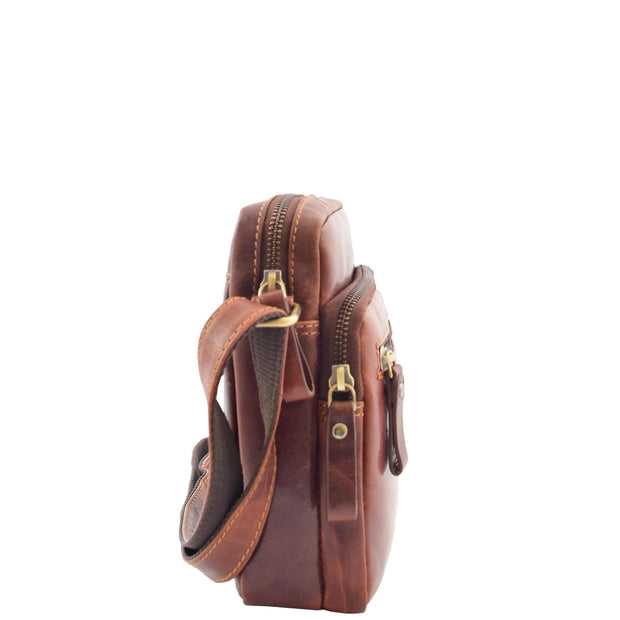 Mens Brown Leather Cross Body Flight Bag Multi Zip Pockets Pouch Cooper Side