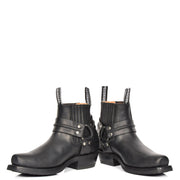 Real Leather Square Toe Cowboy Ankle Boots AR70 Black Pair 1