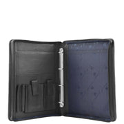 Black Leather A4 Ring Binder File Folio Office Bag Zip Organiser Braga Open