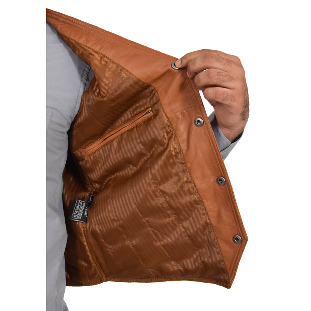 Mens Soft Leather Waistcoat Classic Gilet Bruno Tan lining view