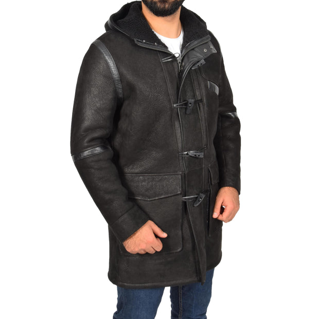 Mens Genuine Sheepskin Duffle Coat 3/4 Long Hooded Jacket Ace Black Front 2