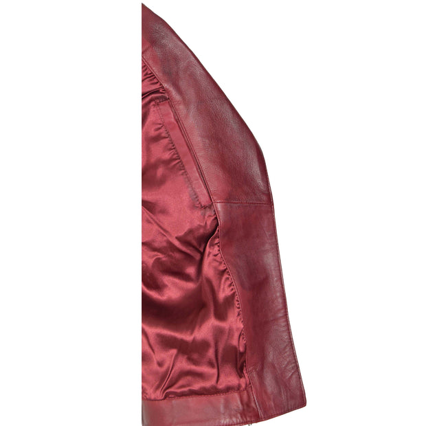 Womens Biker Leather Jacket Slim Fit Cut Hip Length Coat Coco Burgundy Lining
