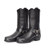 Real Leather Square Toe Eagle Design Biker Boots AEB77H Black PAir 1