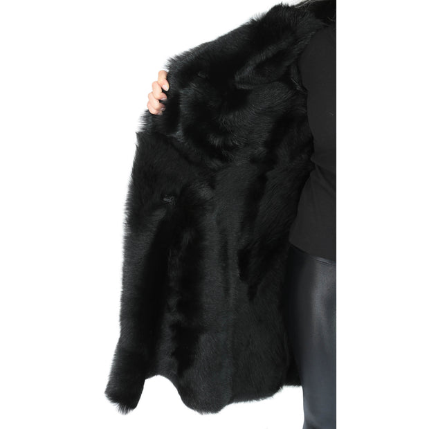 Womens Luxurious Toscana Long Coat Real Sheepskin Pamela Black Lining