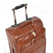 Real Leather Suitcase Cabin Trolley Hand Luggage A0518 Chestnut Feature