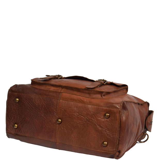 Real Leather Holdall Weekend Cabin Bag Bali Rust Back Letdown