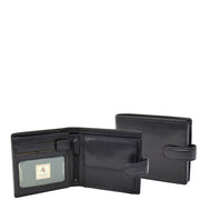 Mens Genuine Italian Leather Snap Closure Wallet AVZ5 Black