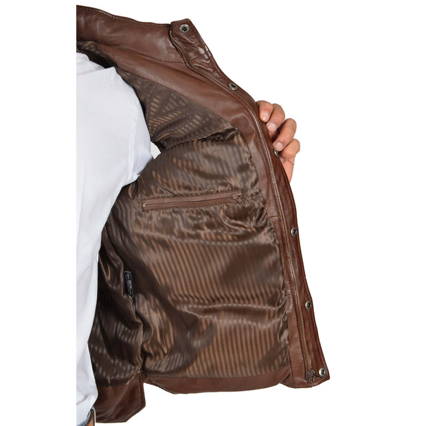 Mens Quilted Leather Waistcoat Body Warmer Gilet Jeff Brown Lining