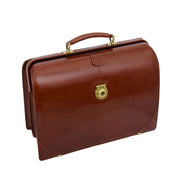 Exclusive Doctors Leather Bag Cognac Italian Briefcase Gladstone Bag Doc Open