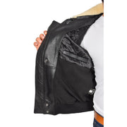 Mens Pilot Bomber Leather Jacket Spitfire Black lining view