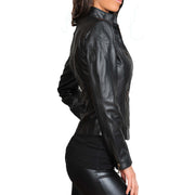 Womens Fitted Leather Biker Jacket Casual Zip Up Coat Jenny Black Side