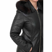 Womens Quilted 3/4 Long Parka Leather Coat with Hood Kelly Black Feature 2
