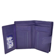 Womens Soft Real Leather Purse Trifold Booklet Clutch AL22 Purple Open 3