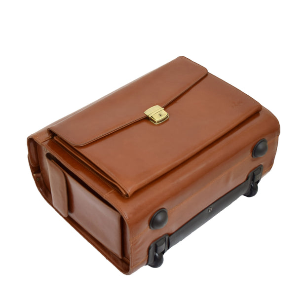 Exclusive Real Cognac Leather Pilot Case Wheeled Cabin Bag Briefcase London Back Letdown