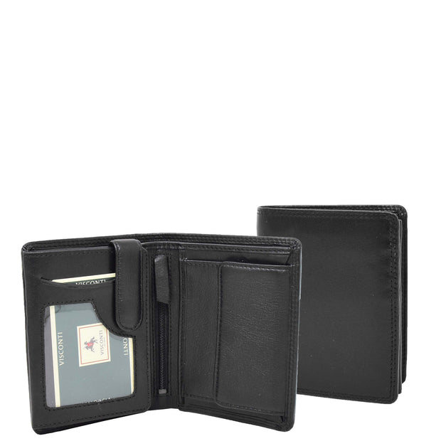 Mens Soft Durable Leather Wallet Cards Coins Notes ID Holder AV111 Black