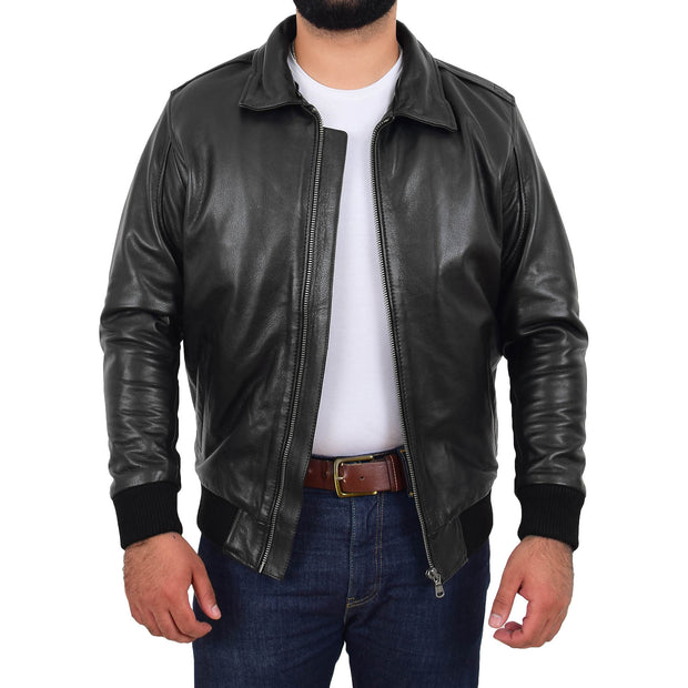 Mens Genuine Cowhide Pilot Leather Jacket Sheepskin Collar Bomber Dylan Black Without Collar