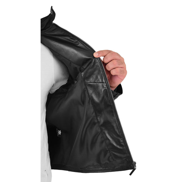 Mens Soft Leather Biker Jacket High Quality Quilted Design Tucker Black Lining