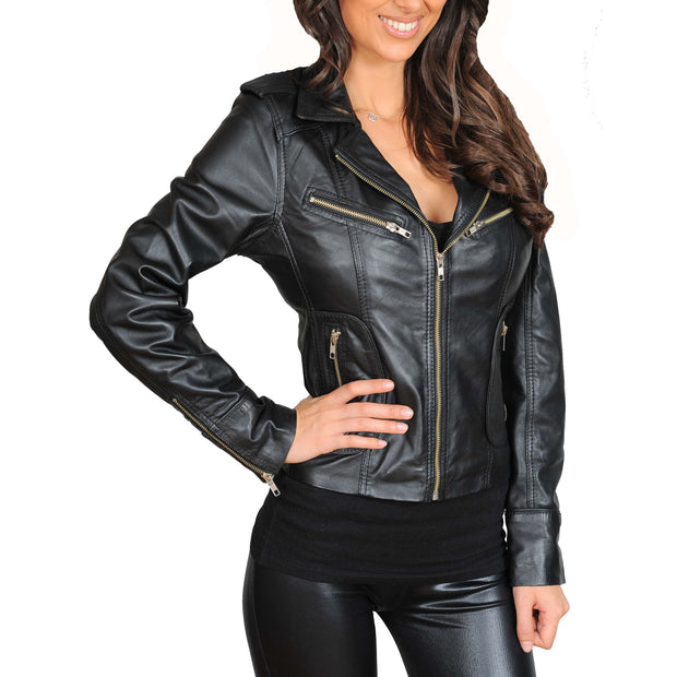 Womens Fitted Biker Style Leather Jacket Betty Black main view
