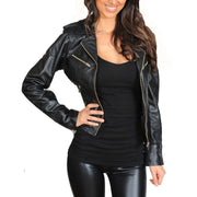 Womens Fitted Biker Style Leather Jacket Betty Black zip open
