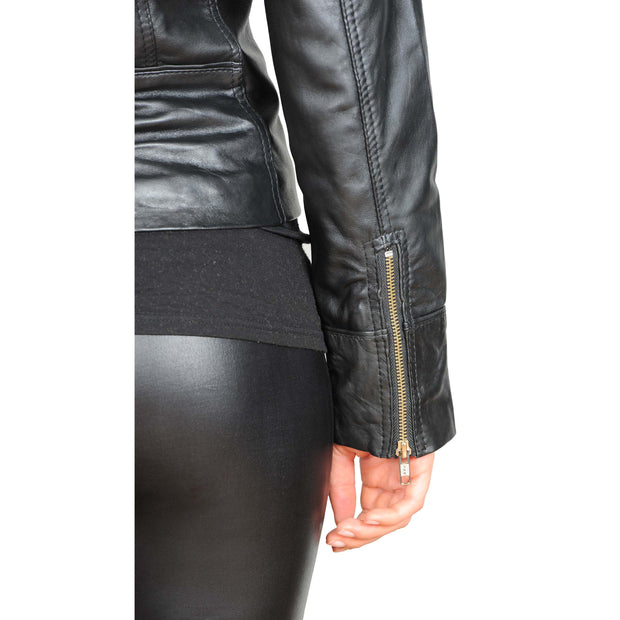 Womens Fitted Biker Style Leather Jacket Betty Black feature 2