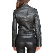 Womens Fitted Biker Style Leather Jacket Betty Black back view