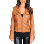 Womens Fitted Biker Style Leather Jacket Betty Tan Front