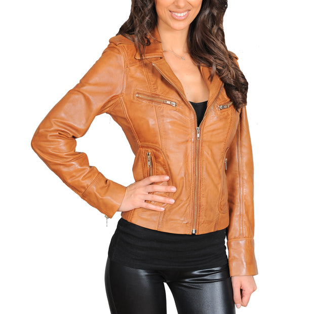Womens Fitted Biker Style Leather Jacket Betty Tan