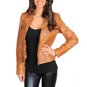 Womens Fitted Biker Style Leather Jacket Betty Tan Open