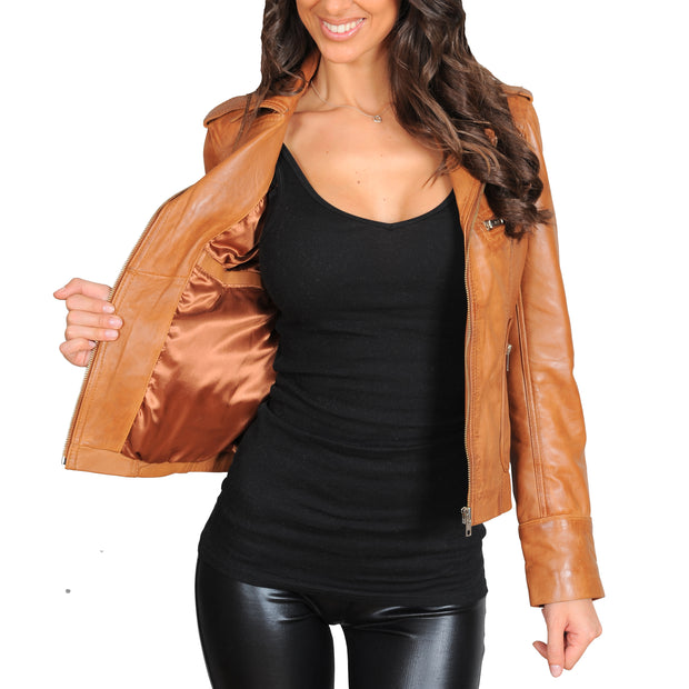 Womens Fitted Biker Style Leather Jacket Betty Tan Lining