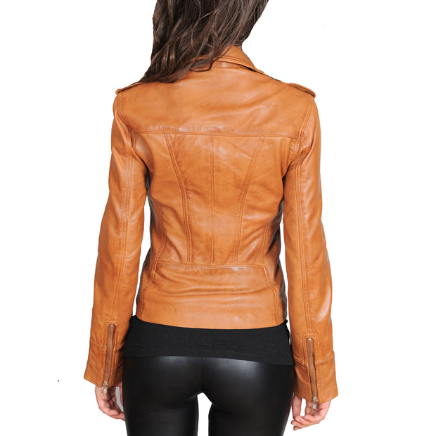 Womens Fitted Biker Style Leather Jacket Betty Tan Back