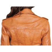 Womens Fitted Biker Style Leather Jacket Betty Tan Feature 1