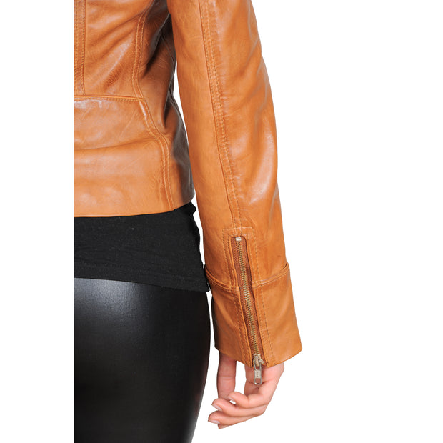 Womens Fitted Biker Style Leather Jacket Betty Tan Feature 2