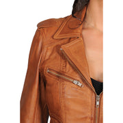 Womens Fitted Biker Style Leather Jacket Betty Tan Feature 3