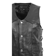 Mens Genuine Cowhide Black Leather Waistcoat Laced Sides Bikers Gilet Capone Feature 2
