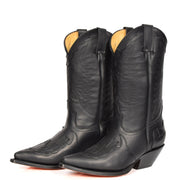 Real Leather Pointed Toe Cowboy Boots AZ350 Black Pair 2