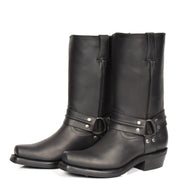 Real Leather Square Toe Cowboy Biker Boots AR69 Black Pair 2