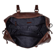 Brown Luxury Leather Holdall Travel Duffle Weekend Cabin Bag Targa Open